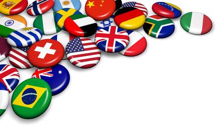 International world flags on buttons badges 3d illustration.