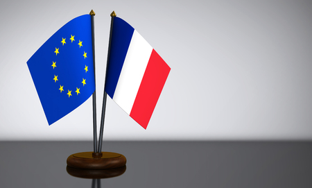 election commission: French and European Union desk flags 3D illustration.