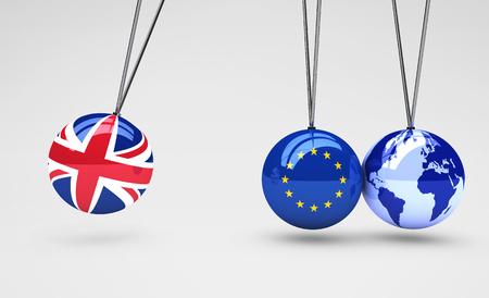 effetto Brexit e globale concetto di conseguenze commerciali con Union Jack, la bandiera UE sulle palle e mappa del mondo globo illustrazione 3D. Archivio Fotografico