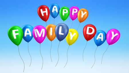 Happy family day text on colorful balloons 3d illustration on blue sky background. Stok Fotoğraf