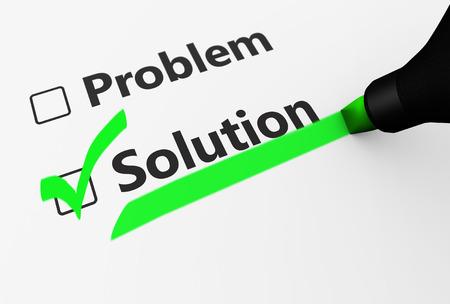 problem solution: Problem solution checklist concept 3d illustration. Stock Photo