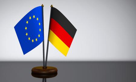 election commission: German and European Union desk flags 3D illustration. Stock Photo