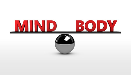 balance concept: Mind and body lifestyle balance concept 3d illustration. Stock Photo