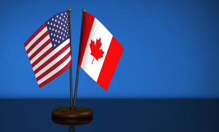 bilateral: USA flag and Canadian desk flags 3D illustration.