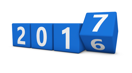 New year 2017 concept with four blue cubes and 2016-7 numbers 3D illustration isolated on white background.