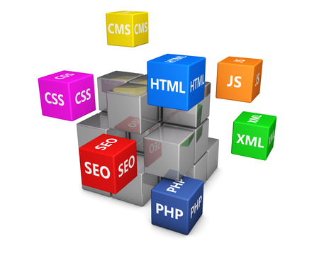 concept design: Web design and digital media development concept with programming languages sign on colorful cubes 3d illustration. Stock Photo
