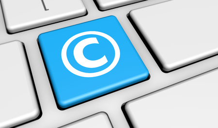 copyright symbol: Digital copyrighting laws conceptual 3D illustration with copyright symbol and icon on a computer key. Stock Photo