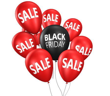 Black Friday Christmas shopping sale concept with sign on balloons 3D illustration.
