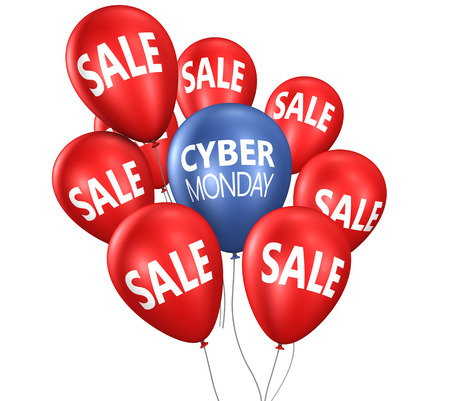 Cyber monday Christmas shopping sale concept with sign on balloons 3D illustration. Stok Fotoğraf