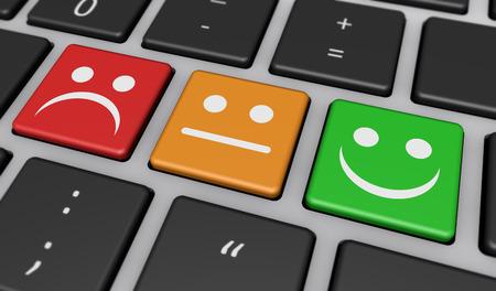 Bedrijfskwaliteit klantervaring feedback, beoordeling en toetsen toetsen met symbolen en iconen op computer toetsenbord 3D illustratie.