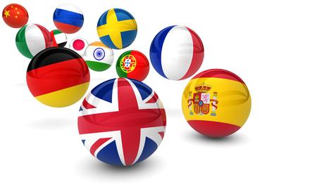 idiomas: concepto internacional de negocios escuela de idiomas con banderas en bolas de rebote ilustración 3D. Foto de archivo