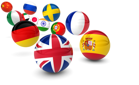 International language school business concept with flags on bouncing balls 3D illustration. Stock Photo