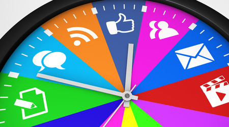 Social network time management concept with a clock and social media icon printed in multiple colors 3D illustration.