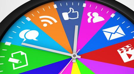 medios de comunicacion: el concepto de red de gestión del tiempo social con un reloj y un icono de medios de comunicación social impresos en múltiples colores ilustración 3D.