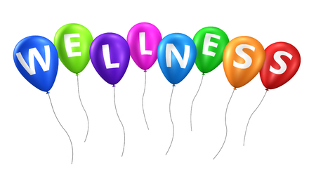 Wellness sign on colorful balloons 3D illustration.