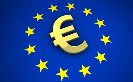 european euro: European Union flag and golden euro symbol 3D illustration. Stock Photo