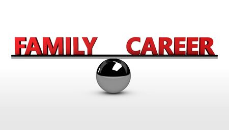 balancing: Family career lifestyle balance concept 3d illustration with balancing red words on a metal sphere. Stock Photo