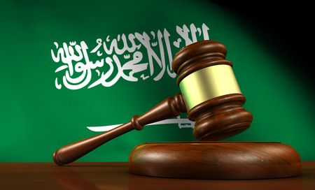 legality: Saudi Arabia laws, legal system and justice concept with a 3D rendering of a gavel and the flag on background.