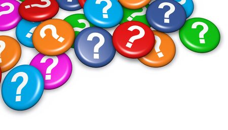 questions: Question mark symbol and icon on colorful badges concept 3d illustration on white background.