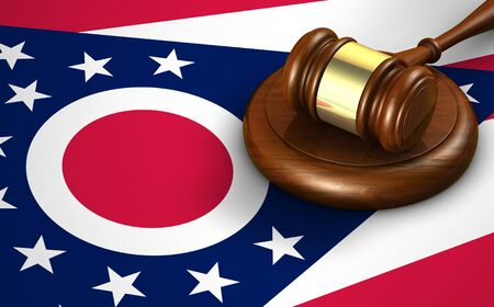 us congress: Ohio US state law, legal system and justice concept with a 3d rendering of a gavel on the Ohioan flag on background.