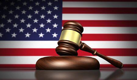 constitucion: leyes de EE.UU., la justicia y el concepto de sistema jurídico con una representación 3D de un martillo y la bandera estadounidense en el fondo. Foto de archivo