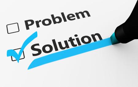 Problema solución de la muestra en una idea de negocio lista de verificación 3d ilustración.