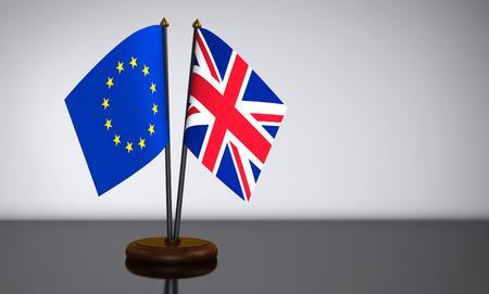 election commission: Union jack UK flag and European Union desk flags 3D illustration.