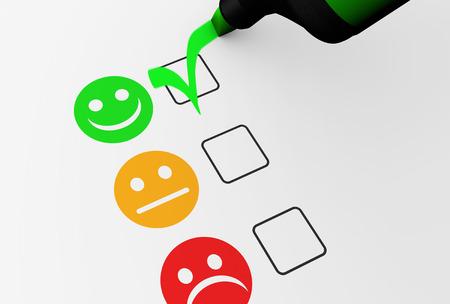 Kundtillfredsställelse Lycklig feedback rating checklista och företagskvalitet utvärdering koncept 3D illustration.