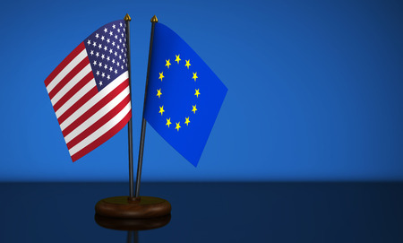 bilateral: USA and European Union desk flags on blue background 3D illustration. Stock Photo