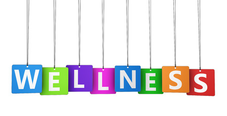 paper tags: Wellness sign and word on colorful paper tags 3D illustration.