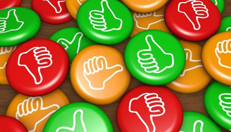 Klanttevredenheid feedback badges zaken en marketing concept 3d illustratie.