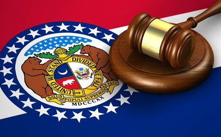 Missouri US state law, legal system and justice concept with a 3d rendering of a gavel on the Missourian flag on background.