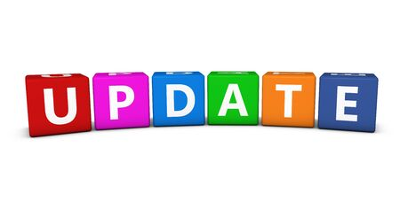 updating: Update sign and text on colorful cubes 3D illustration on white background. Stock Photo