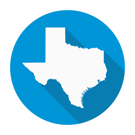 texas state: Texas state map flat icon with long shadow EPS 10 vector illustration. Illustration