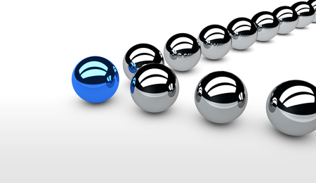 leadership concept: Business leadership concept with a blue leader sphere and silver followers 3D illustration.