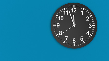 almost: Clock face on a blue wall with clean design showing almost midday hour 3D illustration. Stock Photo