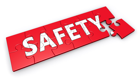 public insurance: Safety concept with word and sign on puzzle 3d illustration. Stock Photo