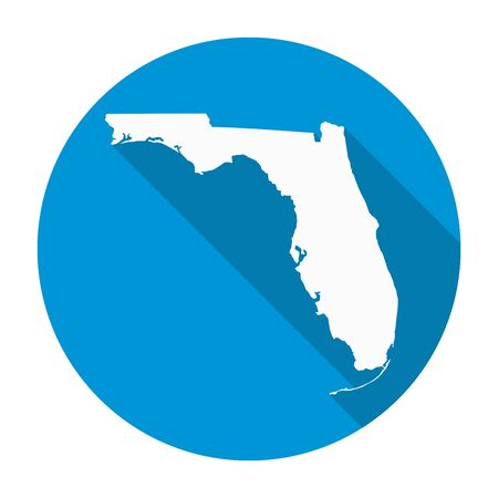 floridian: Florida state map flat icon with long shadow EPS 10 vector illustration.