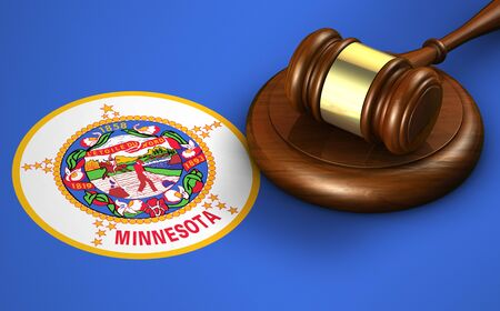 congress: Minnesota US state law, legal system and justice concept with a 3d rendering of a gavel on the Minnesotan flag on background. Stock Photo