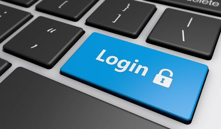 logon: Login icon and sign on a computer keyboard button web security concept 3d illustration.