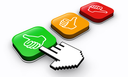 feedback button: Happy customer click positive feedback button business and marketing concept 3d illustration.
