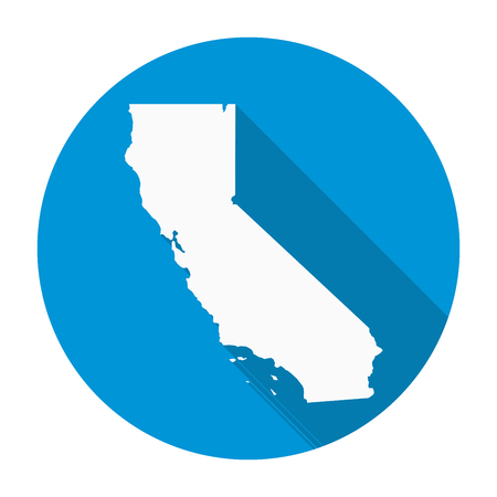 California state map flat icon with long shadow EPS 10 vector illustration. Illustration