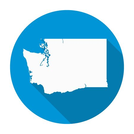 state: Washington state map flat icon with long shadow EPS 10 vector illustration.