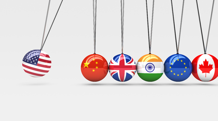 International countries relationships and global economy consequences concept with a cradle and flags on spheres 3d illustration.