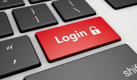 logon: Login icon and sign on a computer keyboard button Internet security concept 3d illustration.