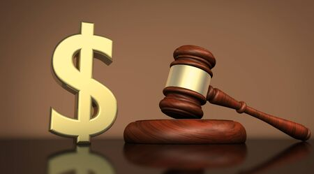 Law, lawyer and dollar icon and symbol cost of justice concept 3D illustration.