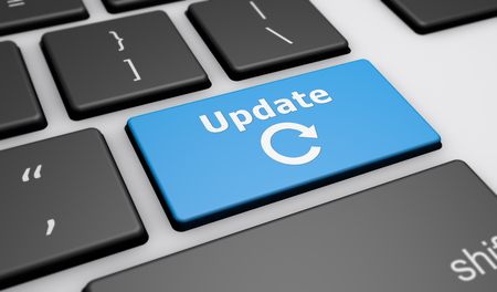 updating: Update sign and icon on a computer keyboard button 3D illustration.