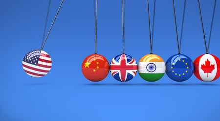 International relationships and global economy consequences concept with a cradle and flags on spheres 3d illustration. Stock Photo