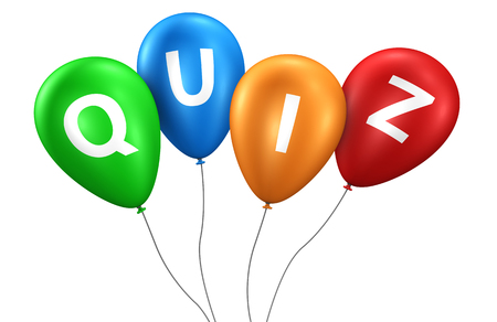 Quiz concept with quiz word and sign on colorful balloons 3D illustration.