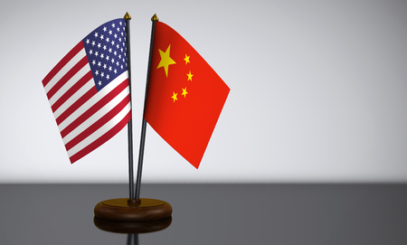 bilateral: United States of America flag and Chinese desk flags 3D illustration. Stock Photo